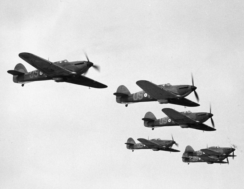 A Flight of Hurricanes of No. 56 (F) Squadron, North Weald, April 1940